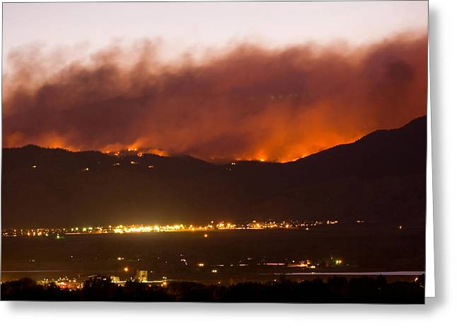 Fourmile Canyon Fire Burning Above North Boulder Greeting Card by James BO  Insogna