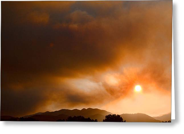 Colorado Wildfires Greeting Cards - Fourmile Canyon Fire Sun Setting  Greeting Card by James BO  Insogna