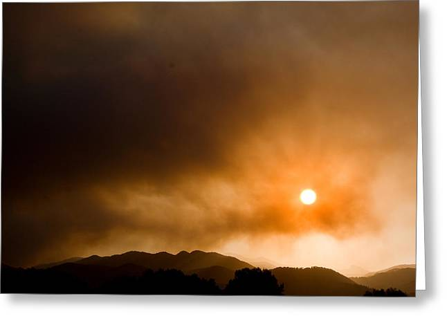 Colorado Wildfires Greeting Cards - Fourmile Canyon Fire Sunset Boulder County Colorado Greeting Card by James BO  Insogna