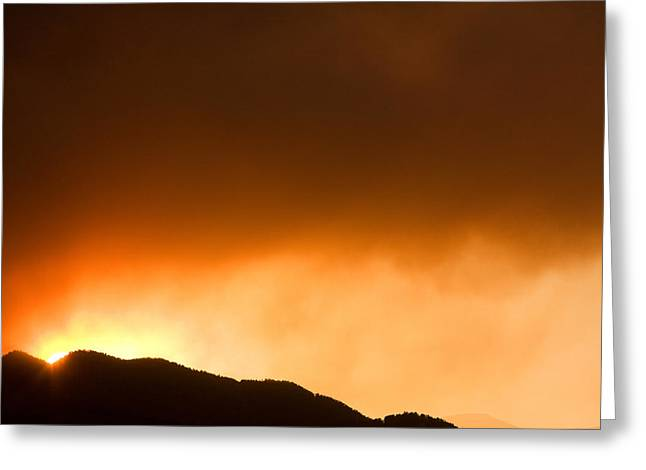 The Lightning Man Greeting Cards - Fourmile Sunset the Night of the Fire Boulder Canyon Greeting Card by James BO  Insogna