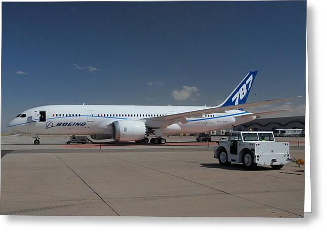 Jetliner Greeting Cards - Fourth Boeing 787 Prototype Mesa Gateway Arizona Greeting Card by Brian Lockett