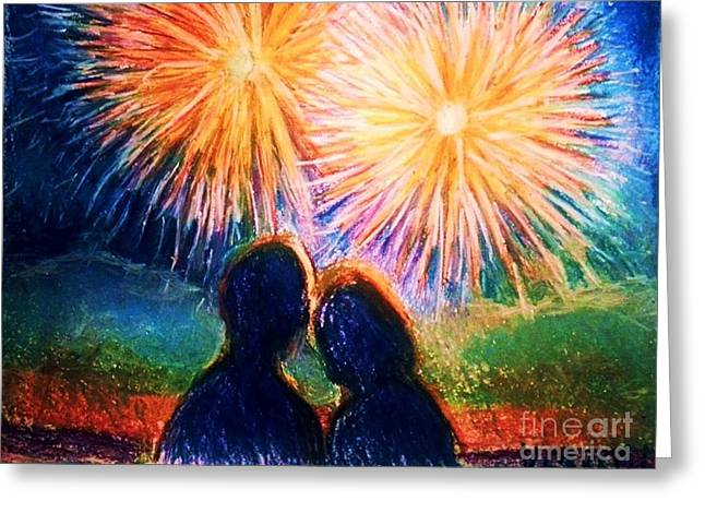 Fireworks Drawings Greeting Cards - Fourth of July 1 Greeting Card by Veronica Gabriel