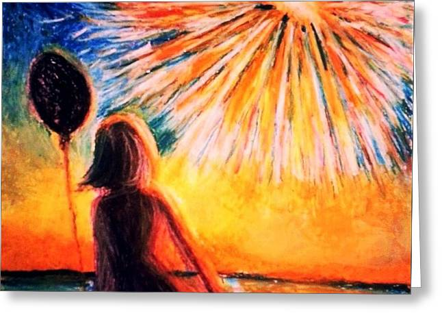 Sunset Greeting Cards Drawings Greeting Cards - Fourth of July 2 Greeting Card by Veronica Gabriel