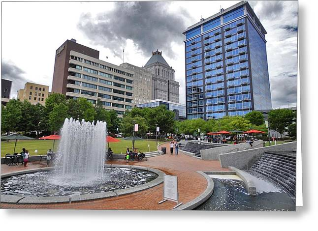 Overcast Day Greeting Cards - Fourth Of July Afternoon In Downtown Greensboro Greeting Card by Matt Taylor