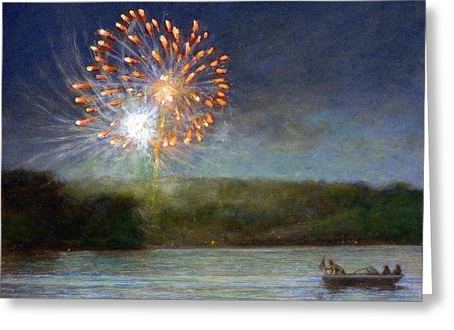 Best Sellers -  - 4th July Paintings Greeting Cards - Fourth of July- Cazenovia Lake Greeting Card by Wayne Daniels