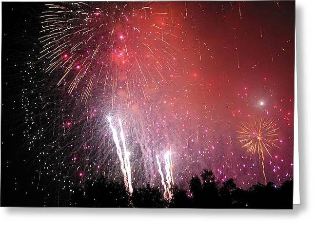 Fireworks Prints Greeting Cards - Fourth of July Greeting Card by Julie Niemela