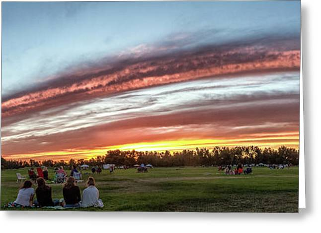 Fourth Of July Sunset At Gem Island Greeting Card by Robert Bales