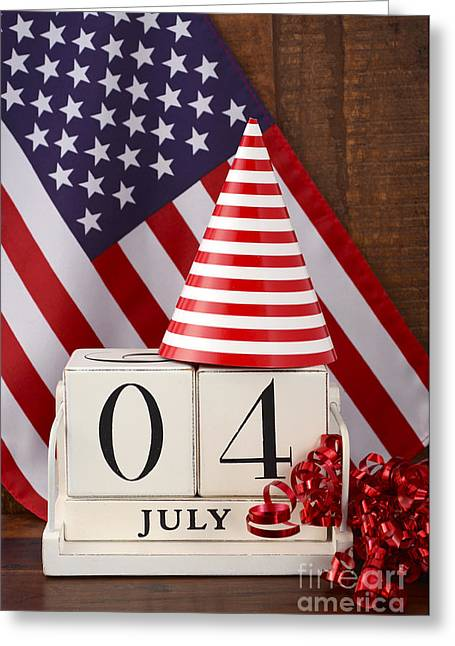 American Independance Greeting Cards - Fourth of July vintage wood calendar with flag background.  Greeting Card by Milleflore Images