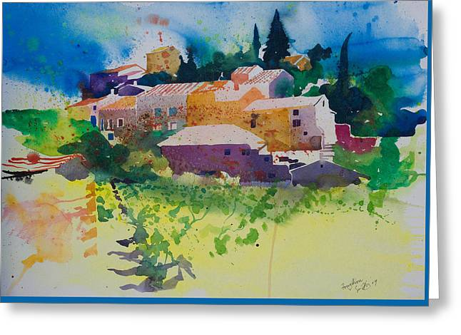 Mediterranean Landscape Drawings Greeting Cards - Fouzilhon Greeting Card by Simon Fletcher