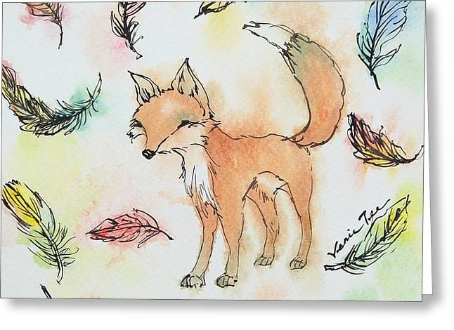 Red Fox Greeting Cards - Fox and feathers Greeting Card by Venie Tee
