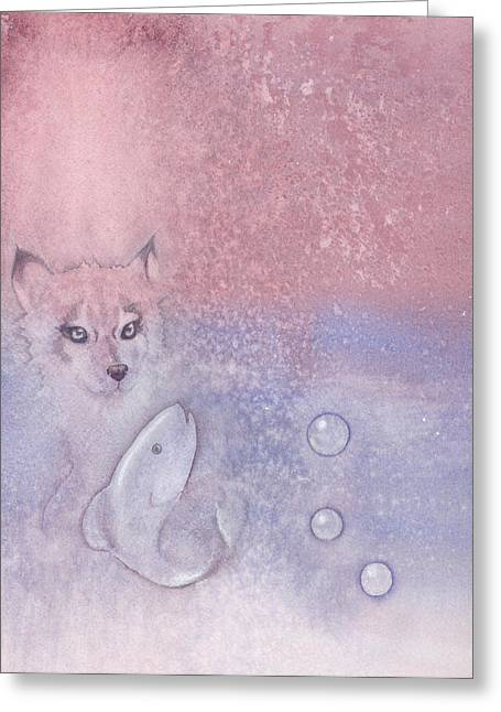 Fox Kit Paintings Greeting Cards - Fox and fish Greeting Card by Christine Winters
