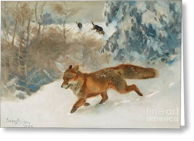 Foxhound Greeting Cards - Fox And Foxhounds In Winter Landscape Greeting Card by Celestial Images