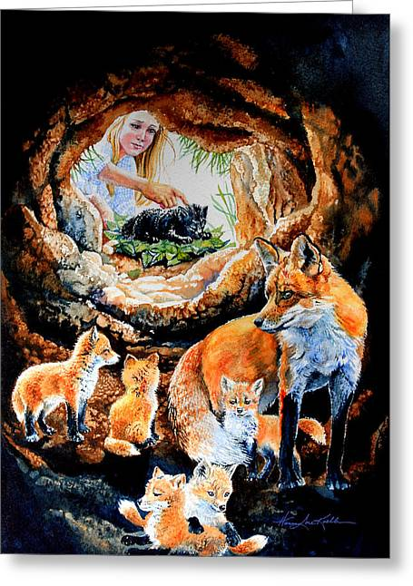 Order Kids Book Illustrations Greeting Cards - Fox Family Addition Greeting Card by Hanne Lore Koehler