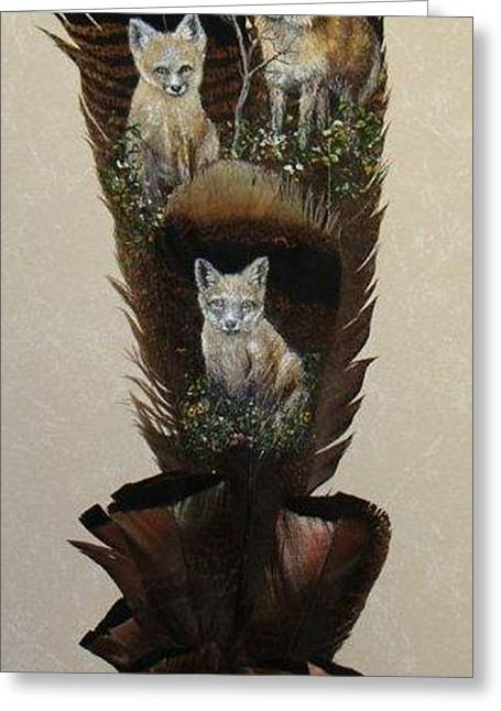 Fox Kit Paintings Greeting Cards - Fox Family Greeting Card by Theresa Jefferson