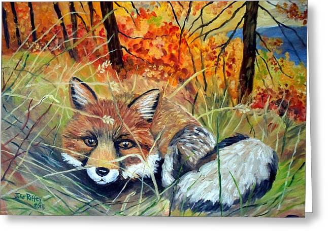 Fall Grass Greeting Cards - Fox-   Fox In Hiding Greeting Card by Julie Brugh Riffey