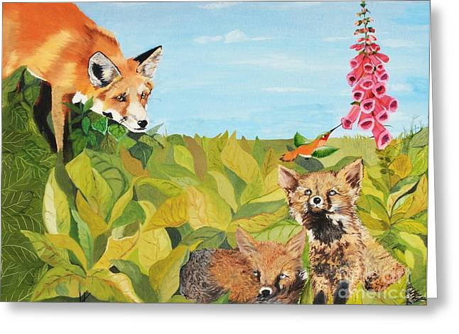 Fox Kit Paintings Greeting Cards - Fox Gloves Greeting Card by Kimatha Kesner