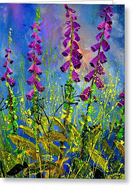Foxglove Flowers Paintings Greeting Cards - Fox gloves Greeting Card by Pol Ledent