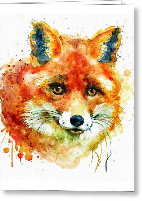 Fox Head Greeting Card by Marian Voicu