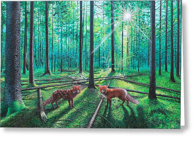 Recently Sold -  - Surreal Geometric Greeting Cards - Fox Hollow Greeting Card by Vincent Fink