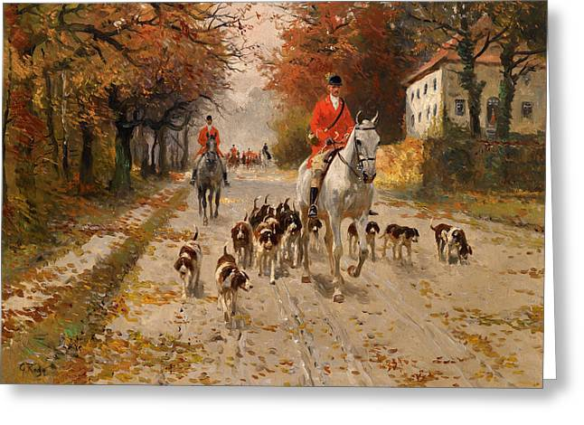 Blood Hound Greeting Cards - Fox Hunt Greeting Card by George Carl Koch