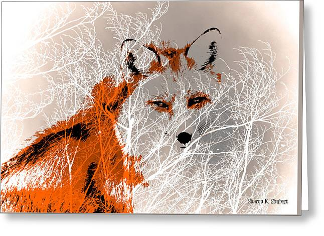 Abstract Digital Digital Greeting Cards - Fox In The Wilderness Greeting Card by Sharon K Shubert