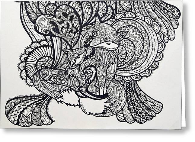 Ink Drawings Greeting Cards - Fox lover Greeting Card by Venie Tee