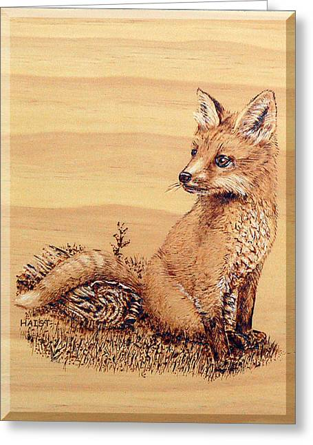 Fox Pup Greeting Card by Ron Haist