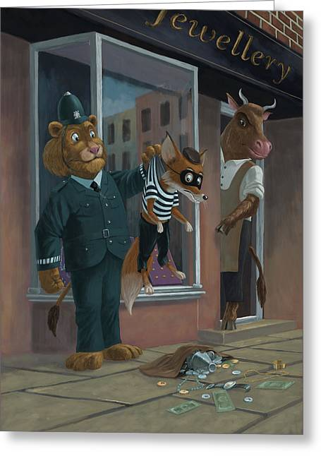 Police Cartoon Greeting Cards - Fox Robber Caught Greeting Card by Martin Davey