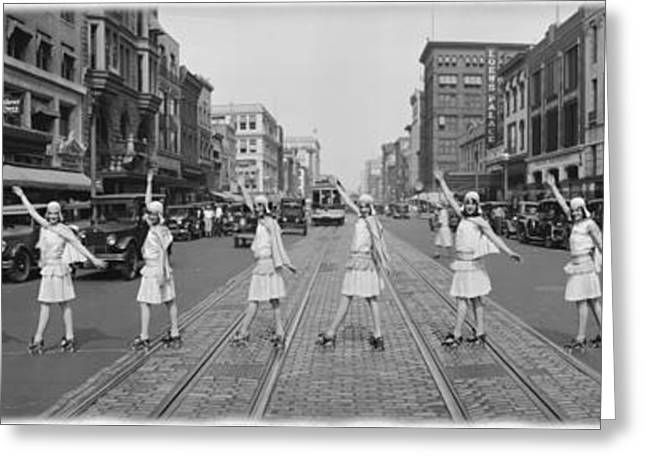Fox Roller Skating Girls Washington Dc 1929 Greeting Card by Panoramic Images