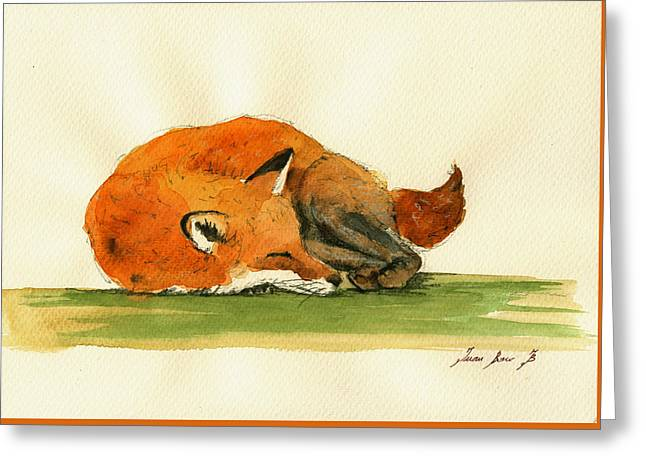 Red Foxes Greeting Cards - Fox sleeping painting Greeting Card by Juan  Bosco
