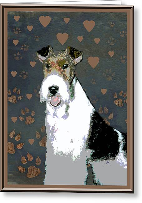 Fox Terrier Wire Greeting Card by One Rude Dawg Orcutt