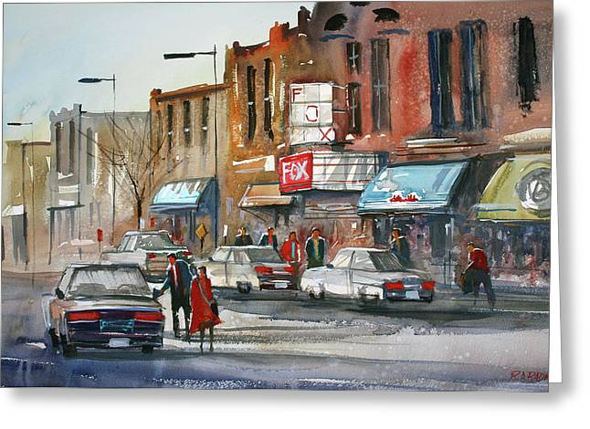People Paintings Greeting Cards - Fox Theater - Stevens Point Greeting Card by Ryan Radke