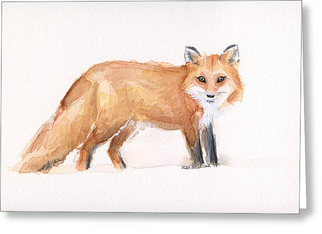 Red Foxes Greeting Cards - Fox Watercolor Greeting Card by Olga Shvartsur