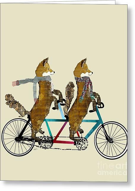 Foxes Lets Tandem Greeting Card by Bri B