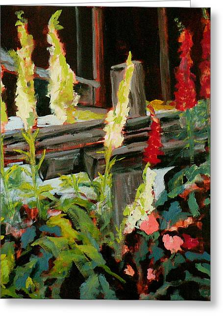 Stein Paintings Greeting Cards - Foxgloves Greeting Card by Carla Stein