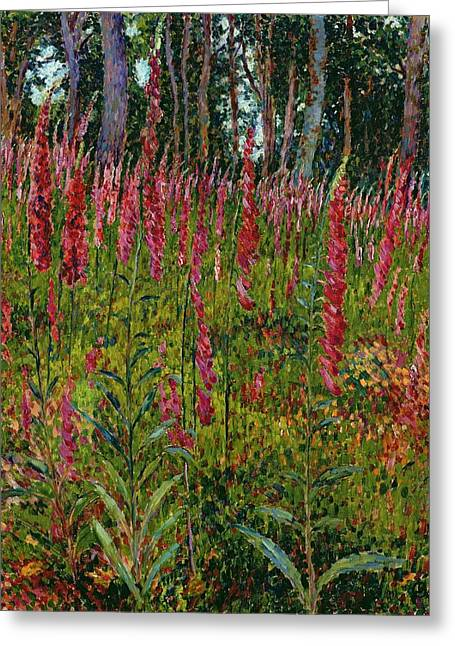 In Bloom Paintings Greeting Cards - Foxgloves Greeting Card by Georges Lacombe