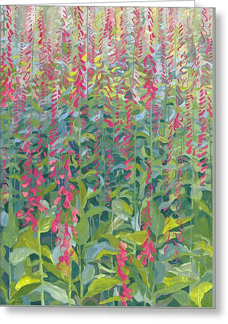 Forest Floor Paintings Greeting Cards - Foxgloves Greeting Card by Leigh Glover