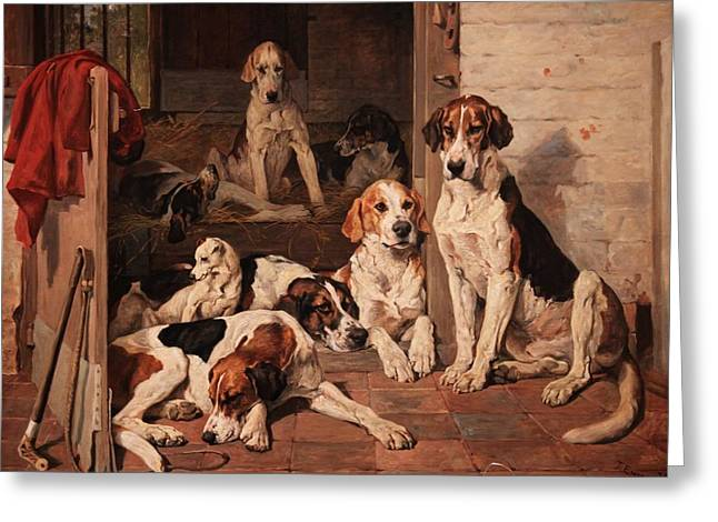 Foxhound Greeting Cards - Foxhounds and Terrier in a Stable Interior Greeting Card by Celestial Images