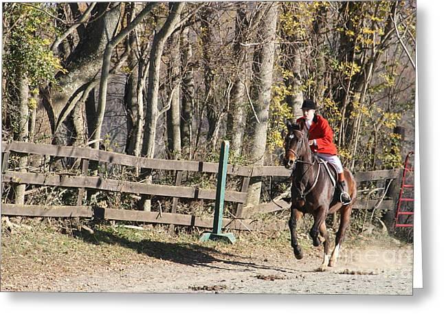 Foxhunting Greeting Cards - Foxhunting Red Rider Virginia Greeting Card by Valia Bradshaw