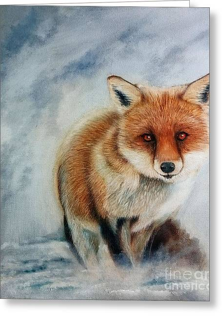 British Portraits Greeting Cards - Foxy Greeting Card by Adrian Jones