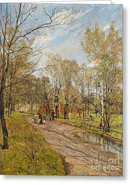 Thaulow Greeting Cards - Fra Slottsparken Greeting Card by Celestial Images