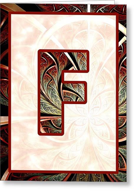 Fractal - Alphabet - F Is For Fractal Creations Greeting Card by Anastasiya Malakhova