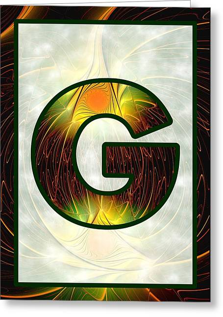 Fractal - Alphabet - G Is For Glow In The Dark Greeting Card by Anastasiya Malakhova