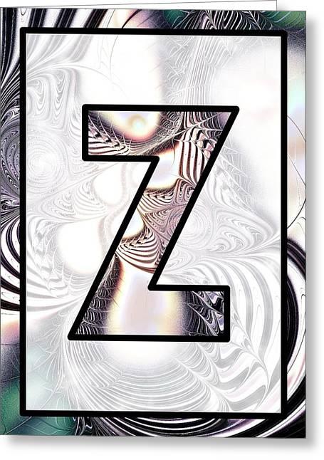 Fractal - Alphabet - Z Is For Zebra Colors Greeting Card by Anastasiya Malakhova