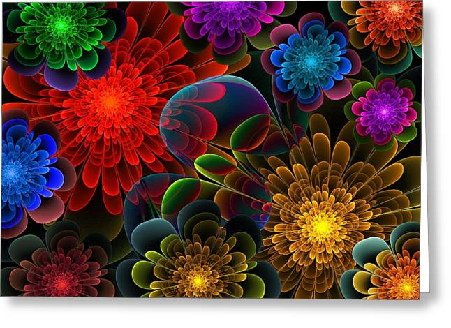 Lyle Hatch Greeting Cards - Fractal Bouquet Greeting Card by Lyle Hatch