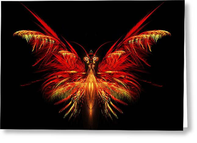 Apophysis Greeting Cards - Fractal Butterfly Greeting Card by John Edwards