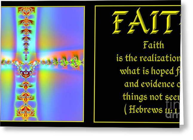 Saint Hope Greeting Cards - Fractal Faith Hebrews 11 Greeting Card by Rose Santuci-Sofranko