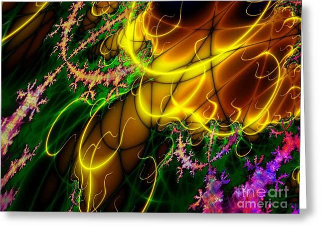 Digital Greeting Cards Greeting Cards - Fractal Fire Greeting Card by Sandra Bauser Digital Art