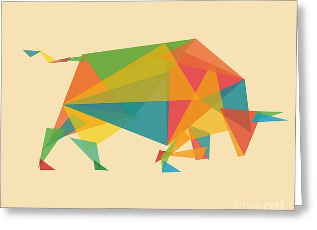 Colorful Geometric Greeting Cards - Fractal Geometric Bull Greeting Card by Budi Kwan