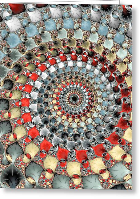 Modern Digital Art Digital Art Greeting Cards - Fractal spiral red grey light blue square format Greeting Card by Matthias Hauser